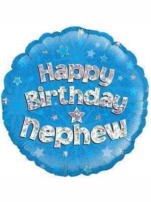 "18"" Blue Holographic Nephew Foil Balloon"