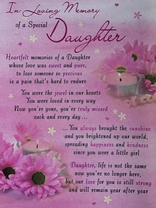 In Loving Memory Of A Special Daughter
