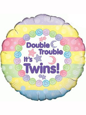 "Double Trouble New Baby Twins 18"" Foil Balloon(Deflated)"