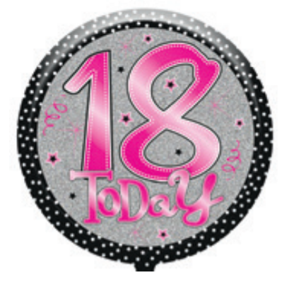 "18th Birthday Female 18"" Foil Balloon"
