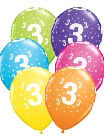 "Age 3 Latex 11"" Balloons 6pk"