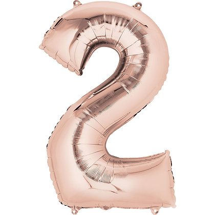 "Rose Gold Number 2 Foil Balloon 34"" (Deflated)"