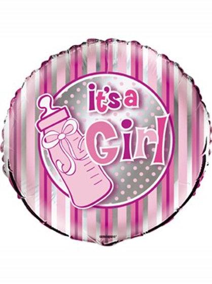 "It's a Girl 18"" Stripe Foil Balloon (Deflated)"
