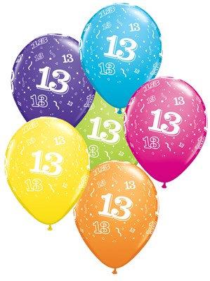 "Age 13 Latex 11"" Balloons 6pk"