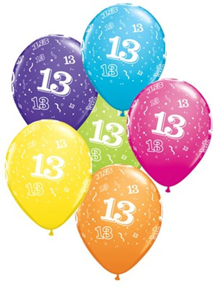 "Age 13 Latex 11"" Balloons 6pk"