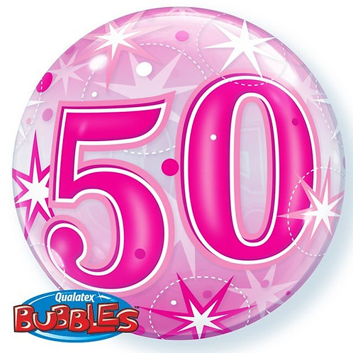 "50th Birthday Sparkle 22"" Bubble Balloon"