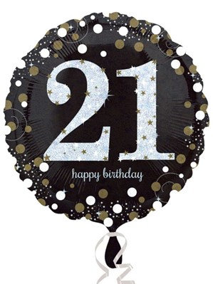 """21st Birthday Black and Gold Celebration 18"""" Foil Balloon (Deflated)"""