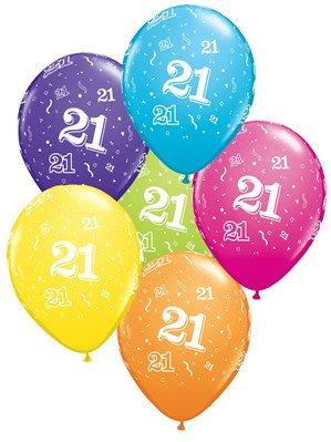 "Age 21 Latex 11"" Balloons 6pk"