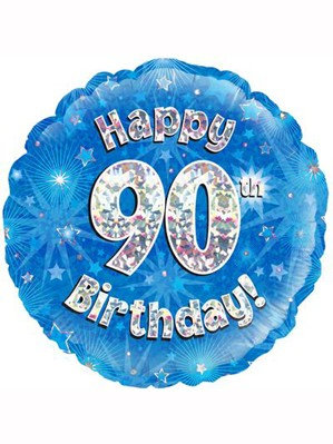 "18"" Blue Holographic 90th Birthday Foil Balloon (Deflated)"