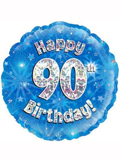 """18"""" Blue Holographic 90th Birthday Foil Balloon"""