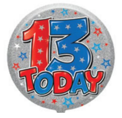 "13th Birthday Male 18"" Foil Balloon"