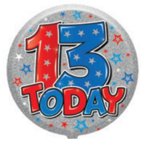"13th Birthday Male 18"" Foil Balloon (Deflated)"