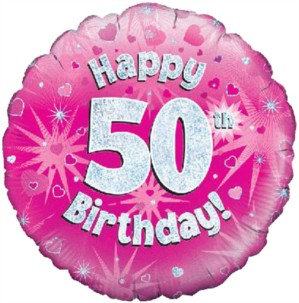 "18"" Pink Holographic 50th Birthday Foil Balloon (Deflated)"