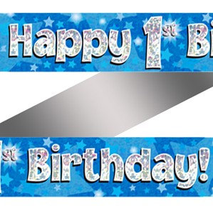 Ages 1 to 15 Birthday Blue Holographic Banner