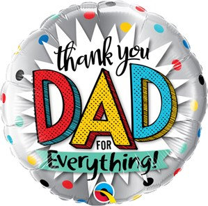 "Thank You Dad 18"" Foil Balloon (Deflated)"