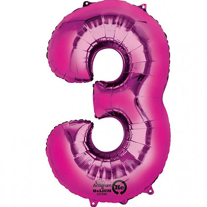 "Pink Number 3 Foil Balloon 34"" (Deflated)"