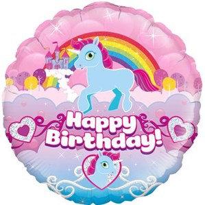 "Unicorn Rainbow Birthday 18"" Foil Balloon (Deflated)"