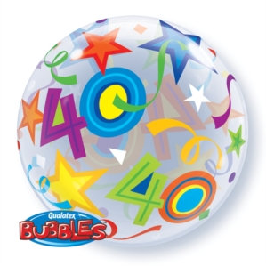 "40th Birthday Bubble Balloon 22"" (Deflated)"