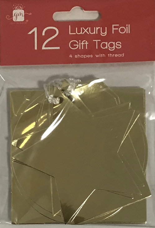 12 Luxury Foil Gift Tags Gold