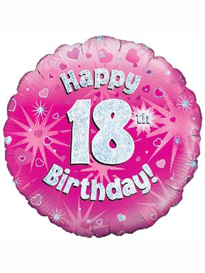 "18"" Pink Holographic 18th Birthday Foil Balloon"