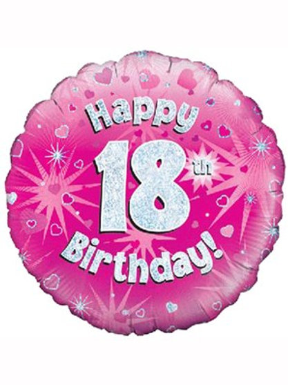 "18"" Pink Holographic 18th Birthday Foil Balloon (Deflated)"