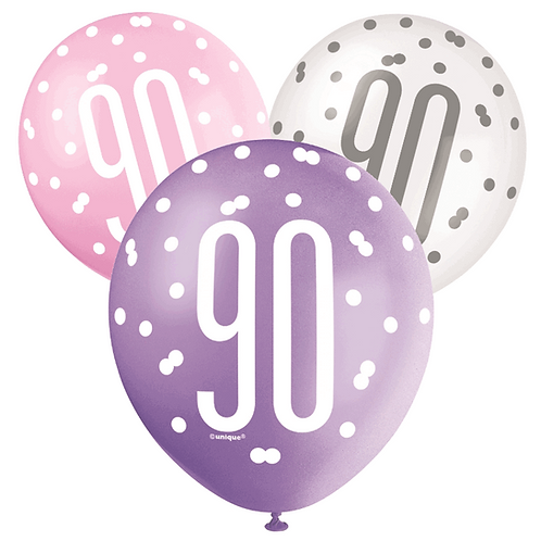 Pink, Purple & White Glitz 90th Birthday Latex Balloons 6pk