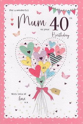 Mum's 40th Birthday Card