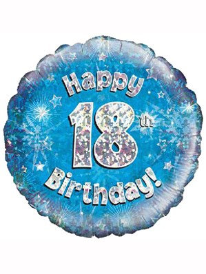 """18"""" Blue Holographic 18th Birthday Foil Balloon"""