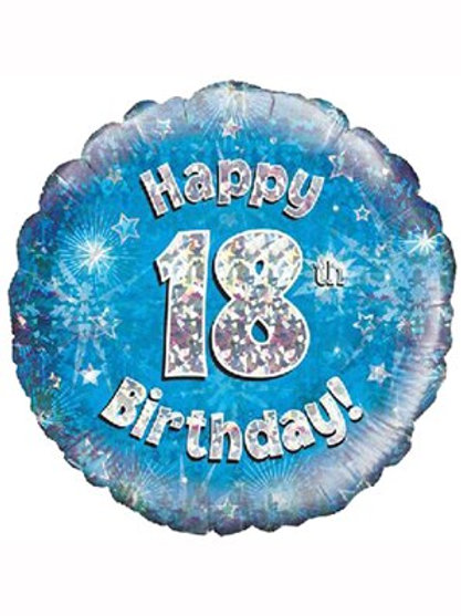 """18"""" Blue Holographic 18th Birthday Foil Balloon (Deflated)"""