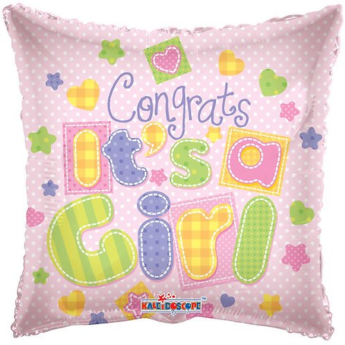 "Congrats Its A Girl 18"" Foil Balloon (Deflated)"
