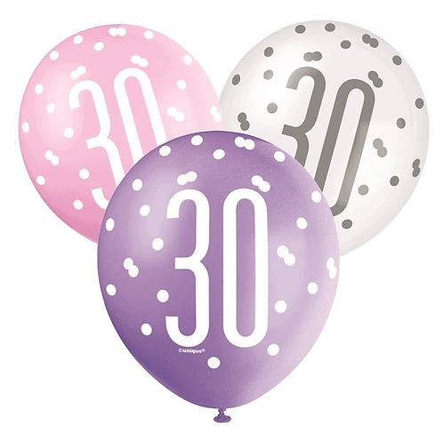 Pink, Purple & White Glitz 30th Birthday Latex Balloons 6pk