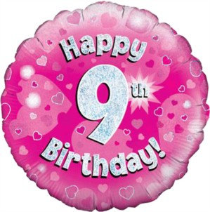 """18"""" Pink Holographic 9th Birthday Foil Balloon"""