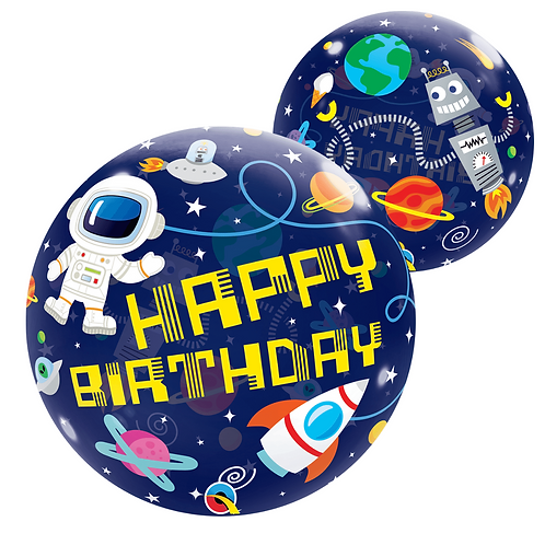 "Happy Birthday Space 22"" Bubble Balloon"