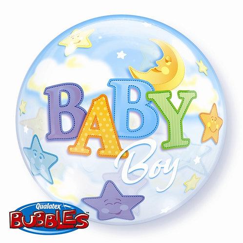 """Baby Boy Moon & Stars Bubble Balloon 22"""" (Deflated)"""