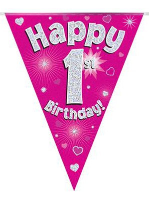 Ages 1 to 15 Birthday Pink Holographic Bunting