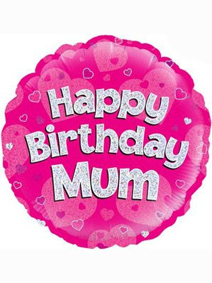 """18"""" Pink Holographic Mum Foil Balloon"""