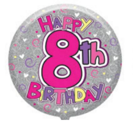 "8th Birthday Female 18"" Foil Balloon (Deflated)"