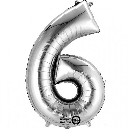 """Silver Number 6 Foil Balloon 34"""" (Deflated)"""