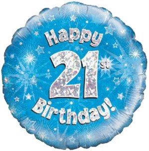 """18"""" Blue Holographic 21th Birthday Foil Balloon (Deflated)"""