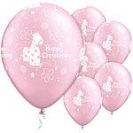 "11"" Latex Christening  Pink Balloons"