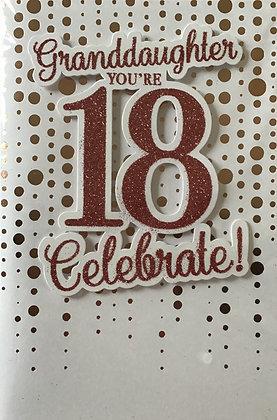 Granddaughter's 18th Birthday Card