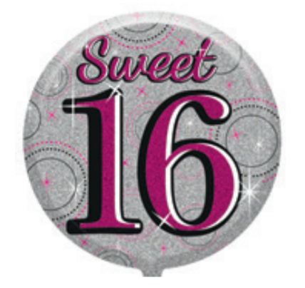 "16th Birthday Female 18"" Foil Balloon"