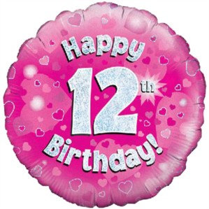 """18"""" Pink Holographic 12th Birthday Foil Balloon"""