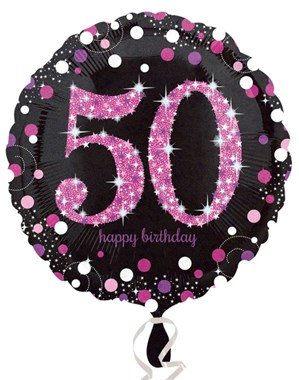 """50th Birthday Black and Pink Celebration 18"""" Foil Balloon"""