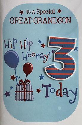 Great Grandson's 3rd Birthday Card