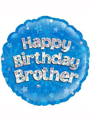 """18"""" Blue Holographic Brother Foil Balloon"""