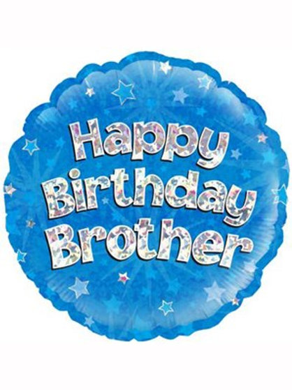 """18"""" Blue Holographic Brother Foil Balloon (Deflated)"""