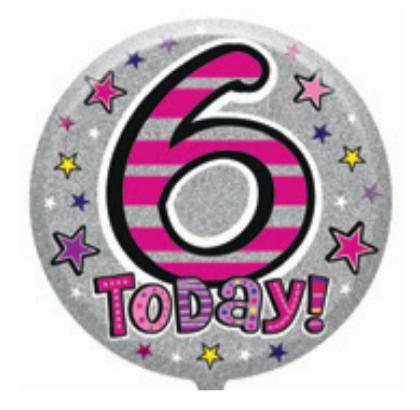 "6th Birthday Female 18"" Foil Balloon (Deflated)"