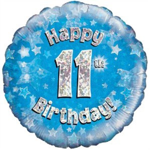 """18"""" Blue Holographic 11th Birthday Foil Balloon"""
