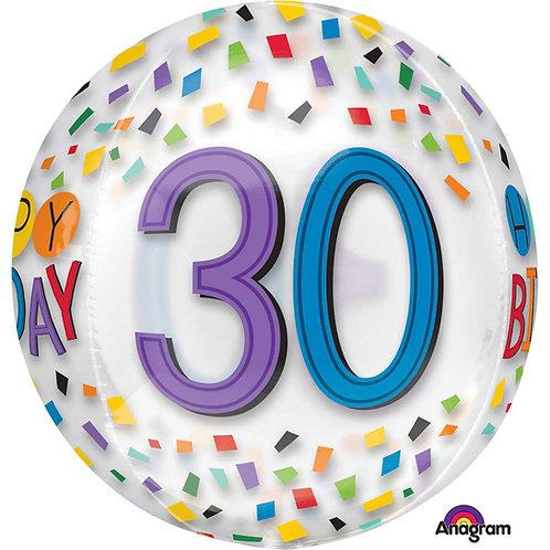 """30th Birthday Rainbow Clear Orbz 16"""" Foil Balloon"""